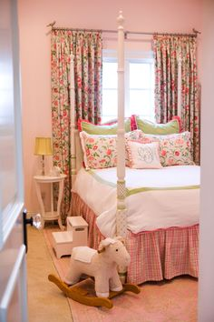 Project Nursery - Four Poster Bed in Traditiona Pink and Green Classic Preppy Girl's Room with Floral Window Treatment