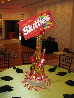 Candy Theme Centerpiece by The Prop Factory, via Flickr Candy Theme Birthday Party, Candy Land Theme, Candy Party, Party Themes, Party Ideas, Theme Ideas, Bat Mitzvah Themes, Bat Mitzvah Party, Bar Mitzvah