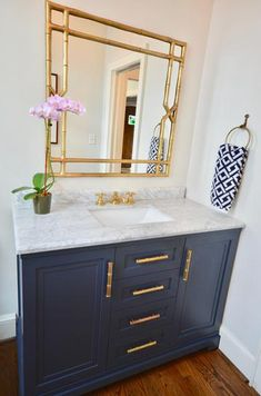 Martha Stewart Living Lynn 60 in. W x 22 in. D Vanity in Midnight Blue with Marble Vanity Top in White with White Basin-Lynn – The Home Depot – Marble Bathroom Dreams Bathroom Furniture, Bathroom Interior, Wooden Furniture, Antique Furniture, Outdoor Furniture, Furniture Ideas, Furniture Inspiration, Furniture Stores, Navy Bathroom