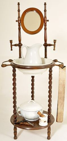 Antique American Victorian Mahogany Barber's Shaving Stand Washstand 1870 | eBay