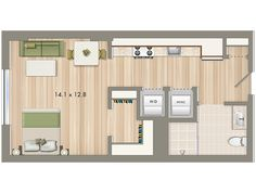 Park Chelsea at The Collective | Studio Floorplan | 440 sq ft | Luxury Apartments In Washington DC