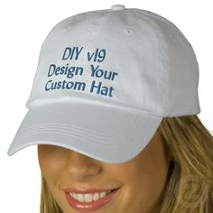 DIY Design Your Own Custom Baseball Hat V19A Embroidered Baseball Cap Create your own hat you can personalize for any special occasion.  Add a name! See more at www.zazzle.com/jaclinart*/ #hats #embroidery #custom #birthday #create #diy