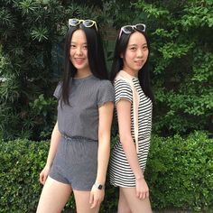 Carrie and Carol from Hong Kong in the T-Shirt Romper in monochrome prints.