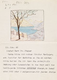 Hermann Hesse - Masch. Brief mit Aquarell. 1943....♔..