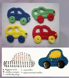Aplique de Crochê em Carros - / Apply than Crochet up Cars - appliques car Error Crochet Car, Crochet Amigurumi, Crochet For Kids, Crochet Crafts, Crochet Dolls, Yarn Crafts, Crochet Projects, Diy Crafts, Appliques Au Crochet