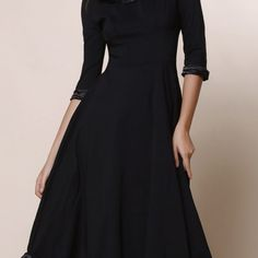 Vintage Women's Round Collar Solid Color Flounced 3/4 Sleeve Dress  $52.65    Specification  Color: BLACK, RED  Size: S, M, L, XL, 2XL  Category: Women > Women's Dresses > Vintage Dresses     Product Notes:  The clothing is smaller than the international size for one size  Style: Vintage  Material: Polyester  Silhouette: Ball Gown  Dresses Length: Mid-Calf