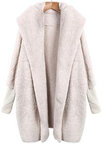 Apricot Lapel Long Sleeve Loose Coat