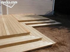 Like these thick deck steps -DS Deck Steps, Porch Steps, Patio Stairs, Backyard Patio, Patio Deck Designs, Patio Design, Corner Deck, Landscaping Around Deck, Backyard Renovations