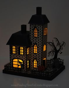 Assembly Tutorial for this Haunted House by Kelly Wayment #silhouettedesignteam #halloween
