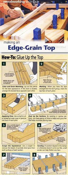 How to make an edge grain top Woodworking Basics, Learn Woodworking, Woodworking Techniques, Woodworking Furniture, Woodworking Crafts, Diy Furniture, Woodworking Plans, Wood Joints, Wood Patterns