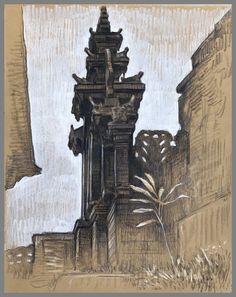 Travel Drawing: Pura Besakih, Bali, Indonesia Prismacolor Pencil on Paper x 2017 Travel Drawing, Yogyakarta, Prismacolor, Bali, Moose Art, Watercolor, Drawings, Illustration, Artwork