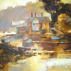 Beautiful greetings card illustrated with an atmospheric painting of an October afternoon in Newton Ferrers, Devon, by Chris Forsey. £2.05