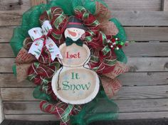 """24"""" Snowman WReath- Let It Snow Wreath- Christmas Deco Mesh Wreath- Red and Green Wreath- Winter Wreath- Christmas Decor- Snowman Decor"""