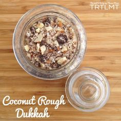Dukkah is a mix of nuts or seeds and other flavourings, usually spices, of choice. This is great to sprinkle on top of ice cream, cheesecakes, ca