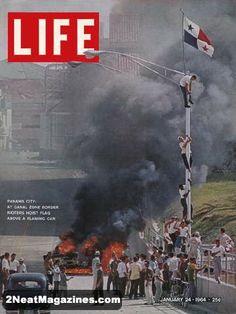 Life Covers 1964 | Life Magazine January 24, 1964 : Cover - Panama City, Rioters hoist a ...