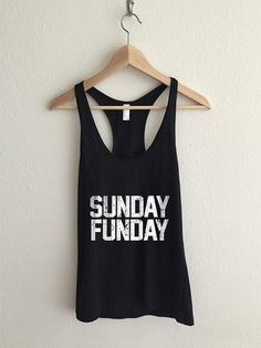 Sunday Funday Dirty Vintage Typography Racerback Tank by RexLambo