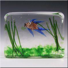 Cenedese Riccardo Licata Murano Glass Fish Aquarium Block Paperweight £349.99