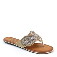 8b3cc6c4f3d6 Brieten New Womens Rhinestone Studded Floral Flip Flops Thong Sandals 8  Gold     Check