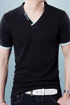 Signature Series Black & Green V Neck Cotton T-shirt Cool T Shirts, Tee Shirts, Male T Shirt, Latest Mens Fashion, Mens Clothing Styles, Clothing Ideas, Mens Tees, Shirt Style, Men Dress
