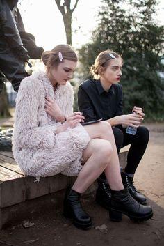 Nastya Abramova, Odette Pavlova - Street Style Paris Couture Spring 2016