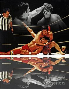 Old School Wrestling Headlock By Dean Ho On Don Muraco With Reflection by Jim Fitzpatrick