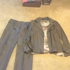 """Brown pants with jacket and blouse. Hardly worn. Great condition.  Nice set.  Pants inseam 29"""" Jackets & Coats Blazers"""