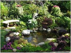 Love this pond landscaping!