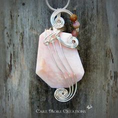 Pink Peruvian Opal Wire Wrapped Pendant Necklace in Silver by CareMoreCreations.com, $58.00