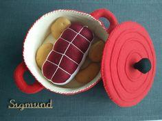 Mon petit plat mijoté : rôti de boeuf et ses pommes de terre dans leur cocotte en feutrine : Jeux, jouets par sigmund