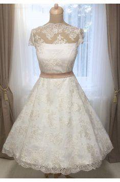 Svatební šaty Retro šaty Vintage krajka vyšívané Bavlněná krajka Ozdobná  bordura lodičkový výstřih Satén saténový pásek cc072b15d0