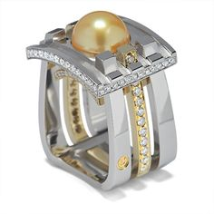 Masterpiece Collection - 11.0mm Golden South Sea Pearl accented with Round Brilliant Cut Diamonds set in Platinum & 18K Yellow Gold.    1st Place Spectrum Awards™ Winner in the Mens Wear Division.     At their request,  Coffin & Trout has donated this ring and it is on display at the Smithsonian National Museum of Natural History.
