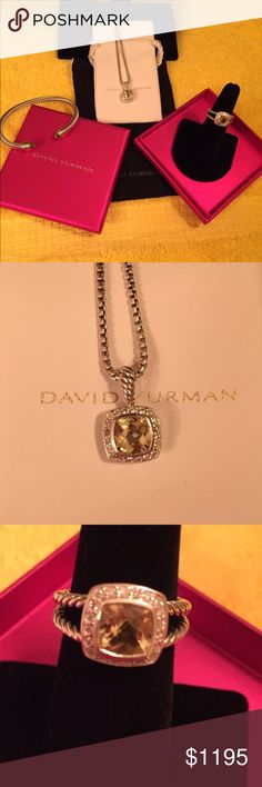 """Hello Santa baby!!!  Morganite pale pink package Albion morganite ring with pendant and cable bangle.  What a great gift!  Bundle and save.  Ring size 6.5 and bangle is medium.  Chain on pendant is 17"""" and all DY hallmark 925 and all with boxes and pouches and authenticity card with cloth.  Hello Santa baby!!! David Yurman Jewelry Rings"""