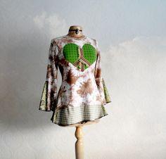 Hippie Top Brown Tie Dye Clothing Women's by BrokenGhostClothing