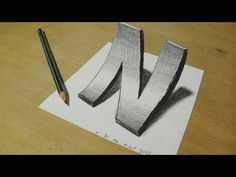How to Draw 3D curved Letter N - Trick Art With Graphite Pencils - Inverse Perspective - YouTube