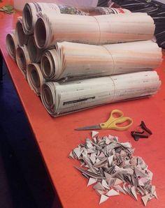 Laget 9 avispapirruller, for vanntilførsel for buketter. 2/7