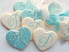 cute giveaways (heart-shaped cookies in you & your FH initials)