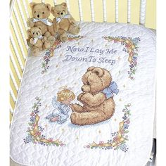 "DIMENSIONS Baby Hugs Quilt Stamped Cross Stitch Kit - 43"" x 34"" Sweet Prayer"