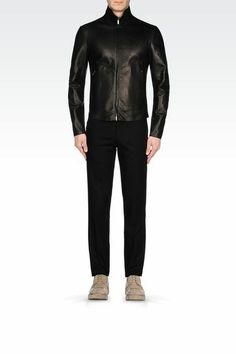 Veste en cuir noir homme armani