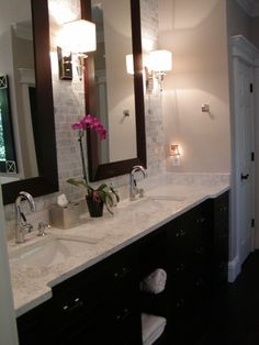 A nice idea to spruce up stock cabinets and corian countertops. Small Basement Bathroom, Spa Like Bathroom, Dream Bathrooms, Beautiful Bathrooms, Bathroom Ideas, Corian Countertops, Bathroom Countertops, Stock Cabinets, Wood Cabinets