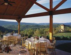 Stunning outdoor wedding reception at The Omni Homestead Resort (Hot Springs, VA) - ResortsandLodges.com #travel #destination #wedding #outdoor