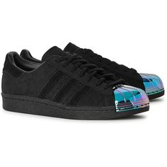 Womens Low-Top Trainers Adidas Originals Superstar Iridescent-toecap... ($125) ❤ liked on Polyvore featuring shoes, sneakers, black cap toe shoes, black sneakers, black low top sneakers, low profile sneakers and lace up shoes