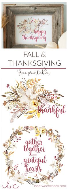 Happy Thanksgiving Free Fall Autumn Printables | inbetweenchaos.com