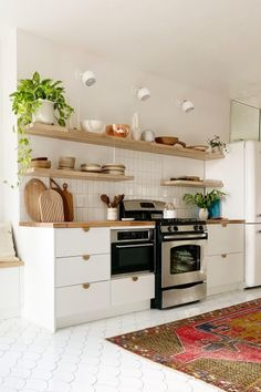 bohemian open shelving kitchen
