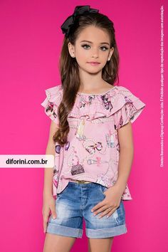 Conjunto shorts e blusa diforini moda infanto juvenil - veja nosso novo pro Cute Outfits For Kids, Outfits For Teens, Casual Outfits, Kids Dress Wear, Kids Wear, Baby Girl Dresses, Baby Dress, Teen Fashion, Fashion Outfits
