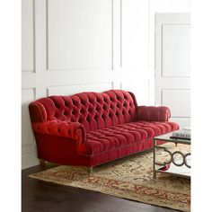 Haute House Mr. Smith Cranberry Sofa (6,245 CAD) ❤ liked on Polyvore featuring home, furniture, sofas, decor, cranberry, haute house sofa, haute house furniture, handmade sofa, tufted sofa and tufted furniture