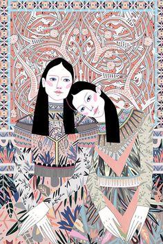 Fashion-Loving Ladies are Camouflaged by Their Equally as Stylish Environment Fashion illustration by Sasha Ignatiadou- Art And Illustration, Illustrations And Posters, Illustration Fashion, Fashion Illustrations, Whatsapp Pink, Graffiti, Poster S, Portrait Art, Art Inspo