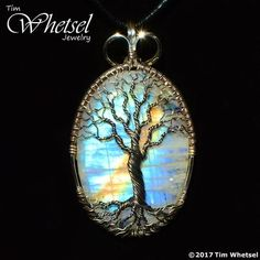 Rainbow moonstone tree of life pendant - sterling silver - wire wrap - handmade jewelry by tim whetsel