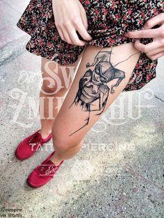 Inez Janiak @ineepine | Łódż Poland  Classic Harley Quinn, reimagined.  Healed tattoo. tumblr: @ineepine-blog  Contact: fb.com/ineepine