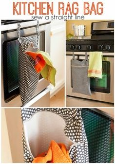 kitchen rag bag for reusable kitchen cloths (instead of paper towels) | sew a straight line