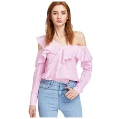 Sheinside Pink Asymmetric Blouses Women 2017 Striped One Cold Shoulder Ruffle Trim Cute Summer Tops Casual Elegant Button Blouse AliExpress Affiliate's Pin. View the item in details by clicking the VISIT button Cute Summer Tops, Cute Tops, Frill Tops, One Shoulder Tops, Cold Shoulder, Blouse Styles, Fashion 2017, Luxury Fashion, Types Of Fashion Styles